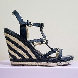 Tommy Hilfigier Straw Patent Leather Wedge Sandals